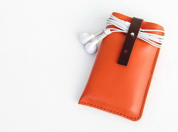 Hand Stitched Leather iPhone case with wristlet by BluePetalz