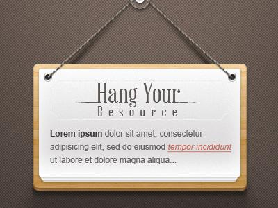 Hanging Note Sign Psd (Freebie) by Pixeden