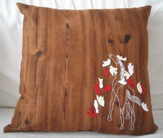 Wood Grain Faux Bois Horse Screen Print Birds Aviary Felt by Cuore