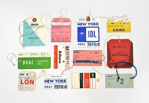 Designspiration — FFFFOUND! | 20x200 - Print Information | Day 256: Vintage Airline Tags, by Lisa Congdon