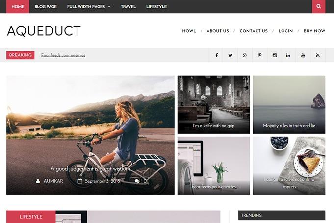 Aqueduct Free Magazine Wordpress Theme - HowlThemes