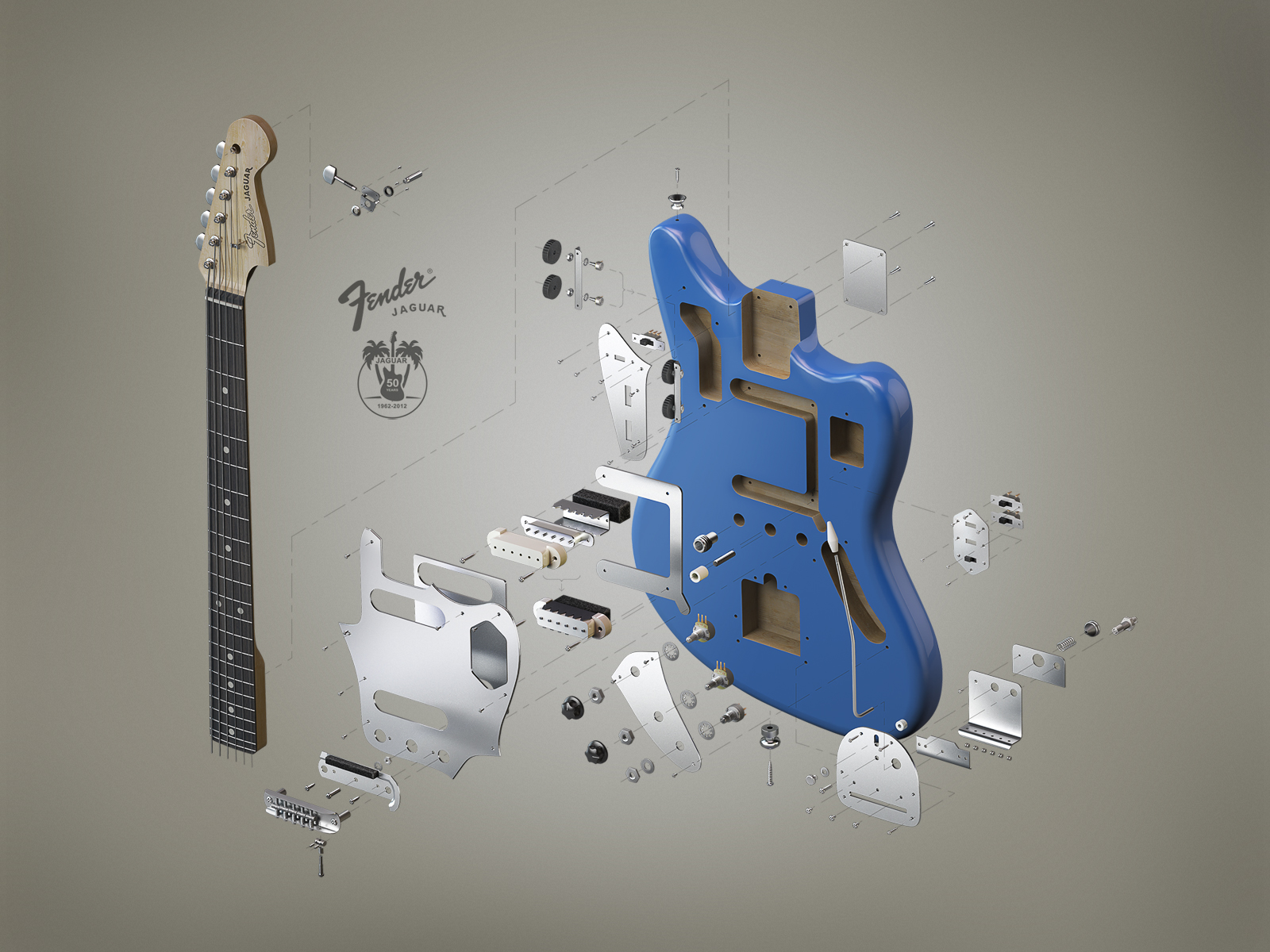 Fender Jaguar. 3D-graphics © ???????? ???????