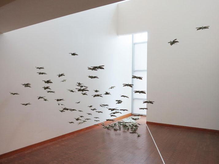 Sipho Mabona's Swarm of Flying Money Origami Locusts | Yatzer