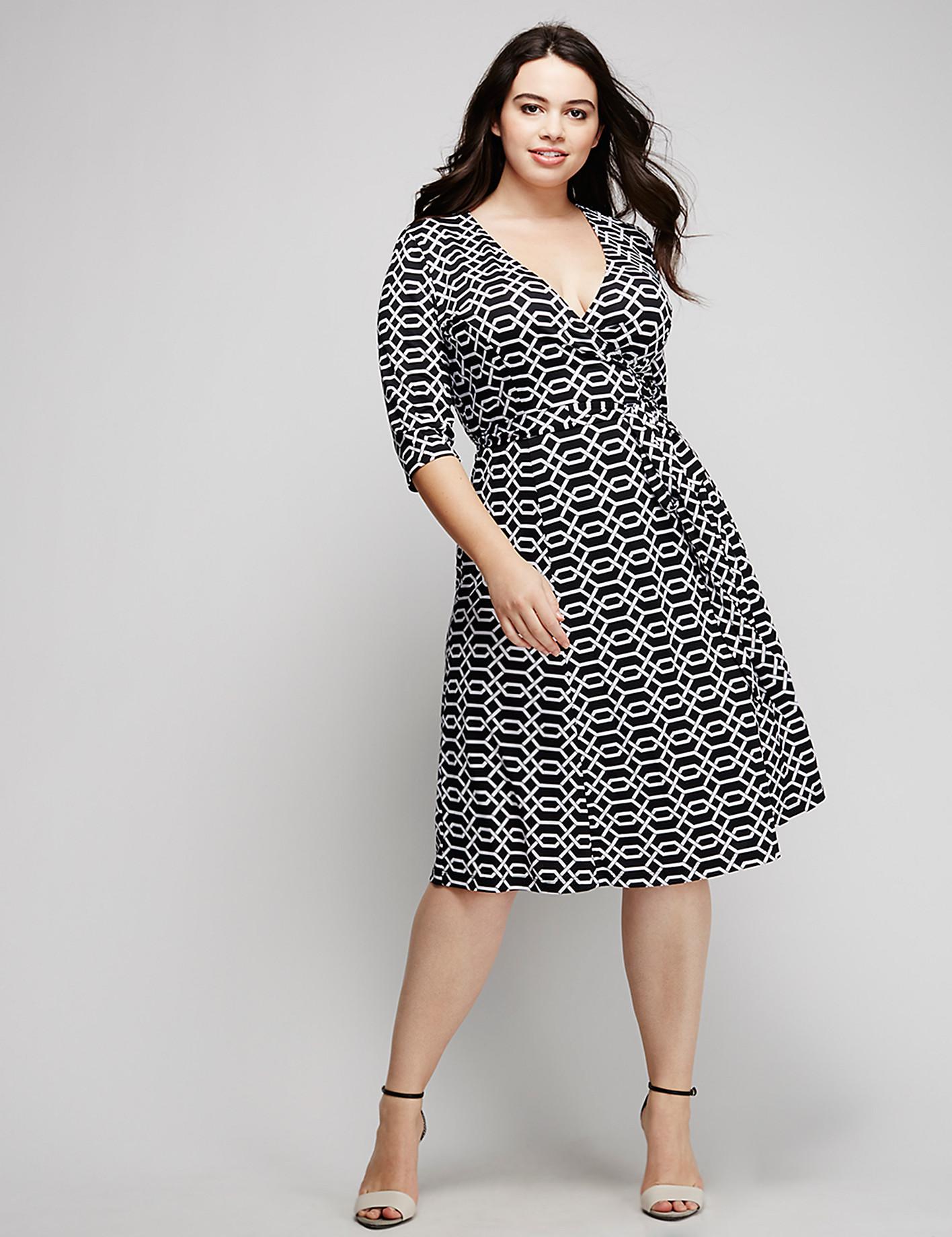 Geo-print wrap dress by Kiyonna   Lane Bryant