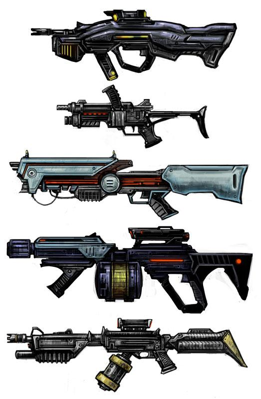 Concept Art . SnowBlind2 . Weapons