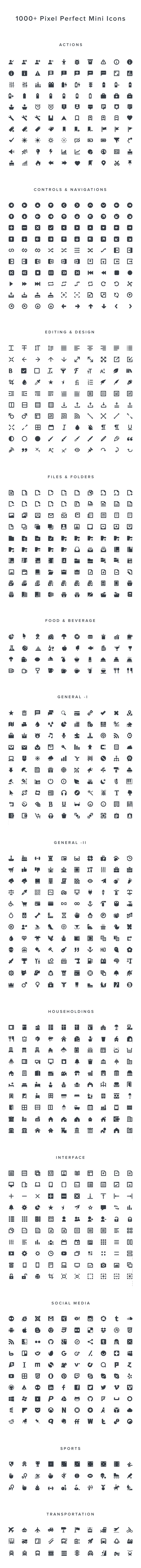 Squid Ink: 1000 Free Mini Icons   GraphicBurger