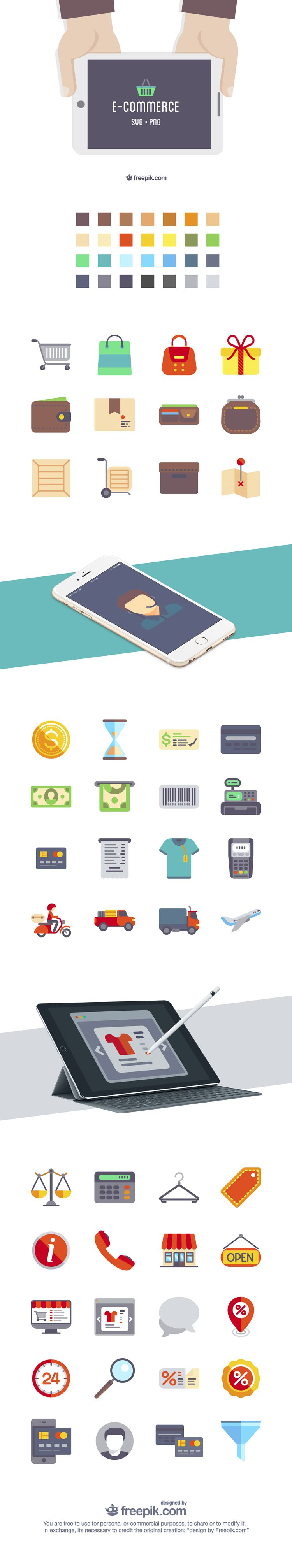 The Free Flat eCommerce Icon Set (50 Icons, PNG & SVG)