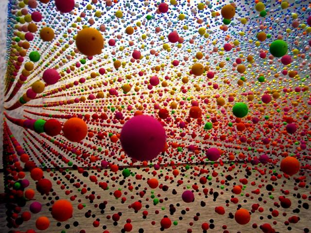 Suspended Bouncy Ball Installation by Nike Savvas | Colossal