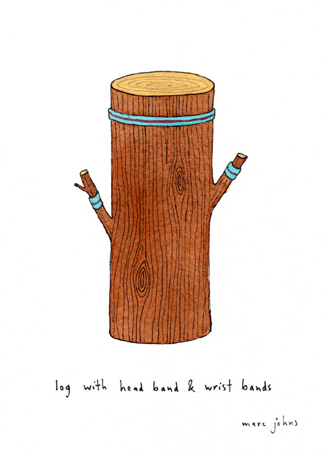 Marc Johns: log with head band and wrist bands