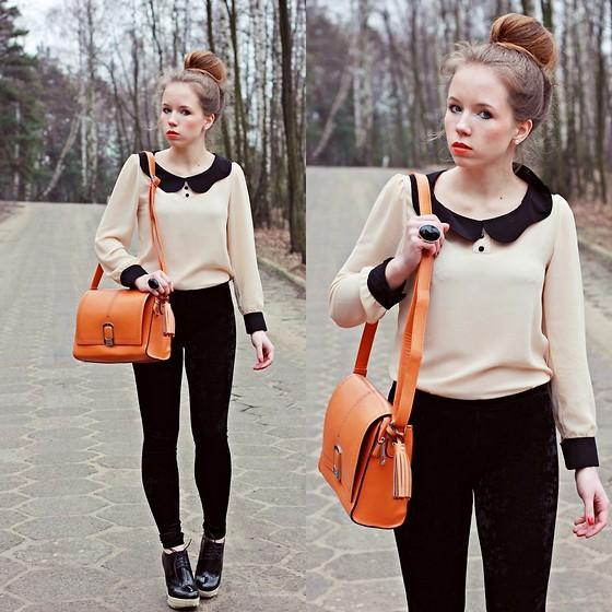 "Romwe.Com Blouse, Www.Rajmarek.Com Bag, Papilion.Pl Shoes //""Collar blouse & orange bag"" by Wioletta Mary Kate // LOOKBOOK.nu"