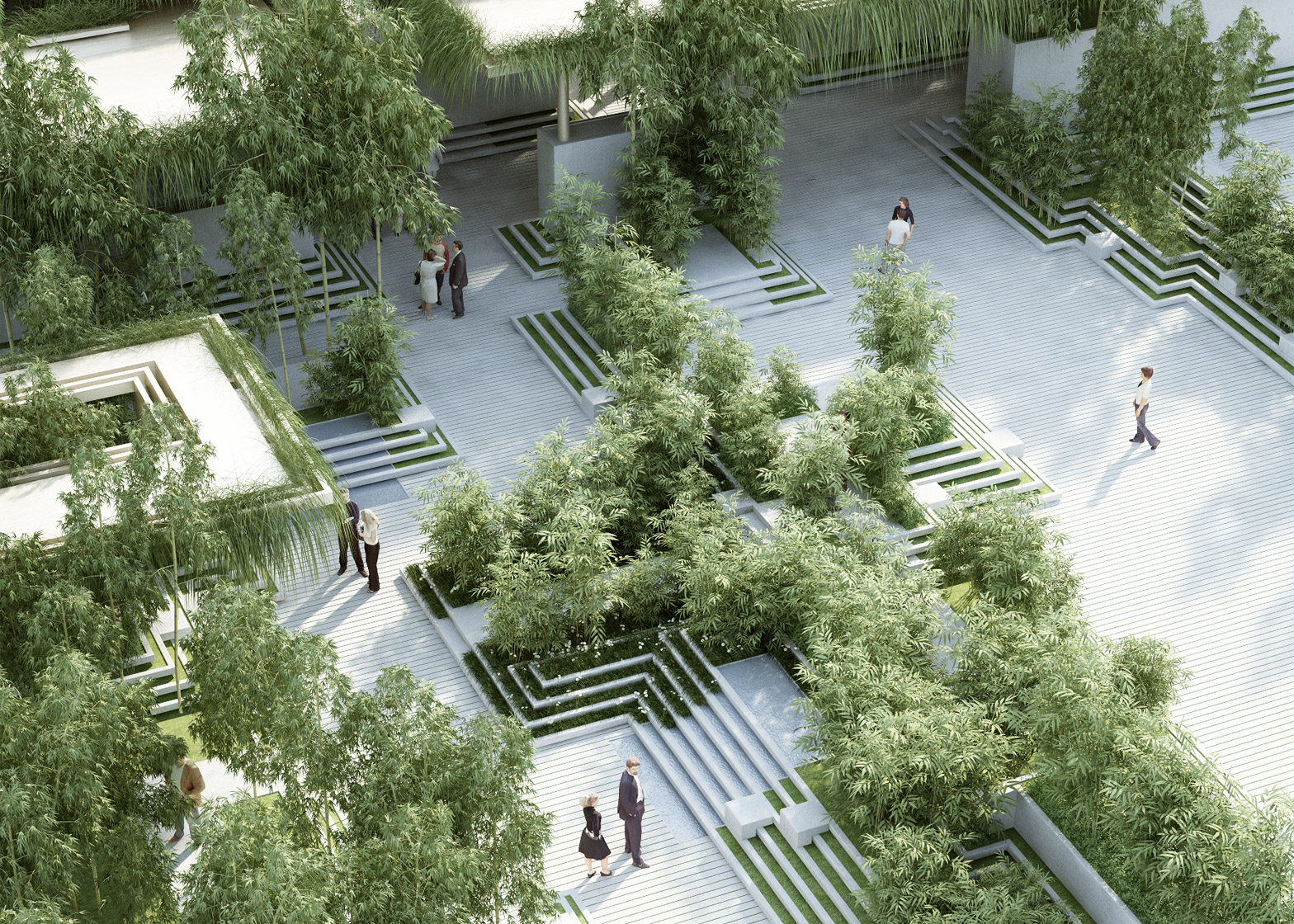 Penda combines stepwells with water mazes for garden design