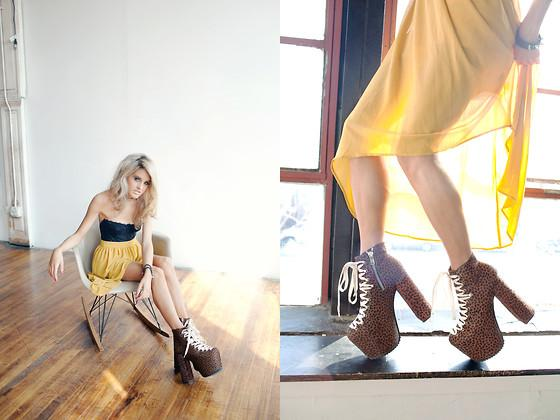 "Black Buister, F21 Mustard Seed Skirt, Unif Hell Bound Leopard Platforms, Topshop Stud Choker //""Surfer blood"" by Rachel Lynch // LOOKBOOK.nu"