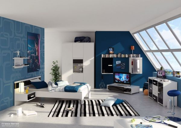 modern blue bedroom ideas for teenage boys #188 - WellBX