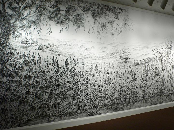Remarkable Charcoal Finger-Painted Landscape Mural - My Modern Metropolis