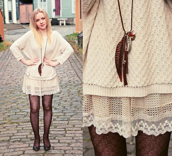 "Mango Sweater, H&M Necklace, Skirt, Modcloth Tights //""Suffer, Lid, Min kjære"" by ANE G. // LOOKBOOK.nu"