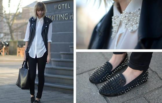 "Chicwish Shirt, H&M Trend Leather Gilet, H&M Jeans, Romwe Spiked Loafers //""Pearls & spikes."" by Sietske L // LOOKBOOK.nu"