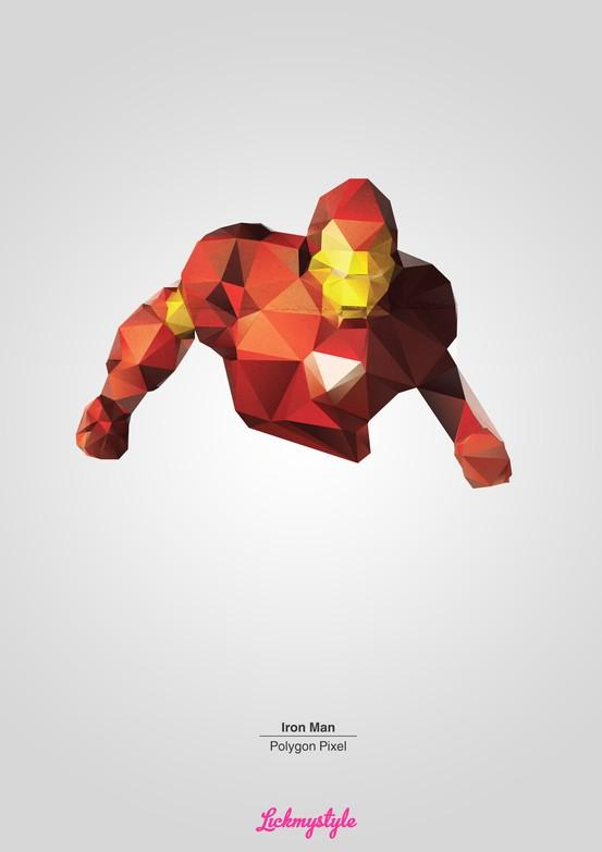 Inspiration / FREE!!! Iron Man Polygon Pixel A3, 300DPI, (3508 x 4961px) portrait sized high quality .png's with grey or transparent background polygon image for use in your own personal designs. Perfect for print. http://on.fb.me/iron-man-polygon-pixel-landing