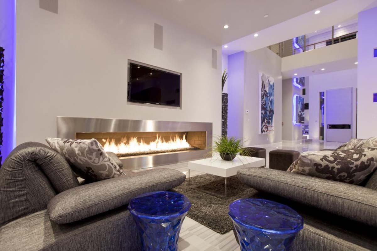 modern living room design with excellent fireplace
