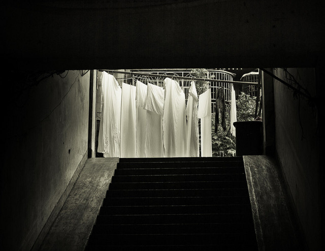 White sheets on the steps by lwc71 | Shadowness