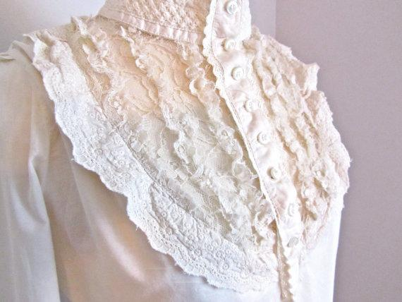 Victorian Lace Blouse Romantic Ivory by preaime2 on Etsy