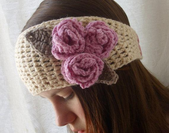 Crochet boho headband headwrap earwarmer cream by threemagicsheep