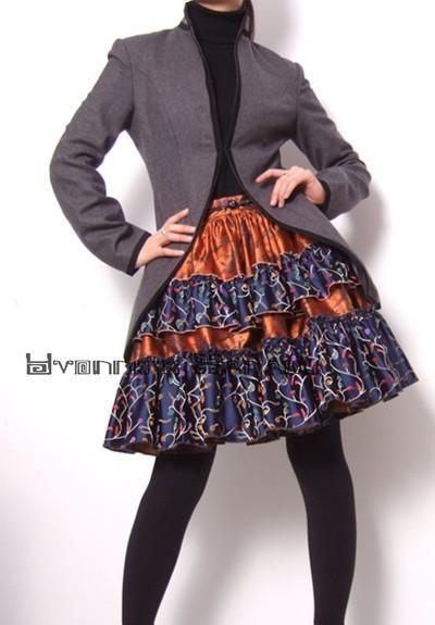 Grey Pure Virgin Wool Black Trimming Long Sleeved by yystudio