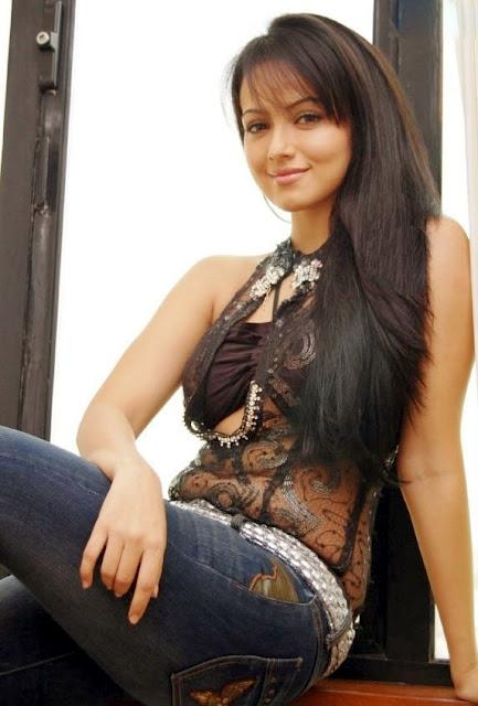 Actress Sana Khan in Transparent Black Top and Blue Jeans | (Best Blogger Themes )