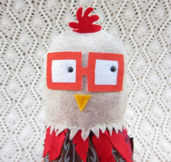Plush Toy Chicken Red & Beige by nonsenseinstitute on Etsy