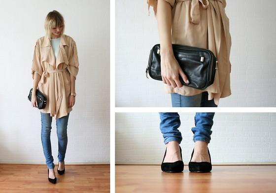 "Zara Mintgreen Longsleeve, Chicwish Trenchcoat, Michael Kors Rose Golden Watch, Zara Clutch, Topshop Jeans, Zara Pumps //""I need some more votes, please see info below!"" by Sietske L // LOOKBOOK.nu"