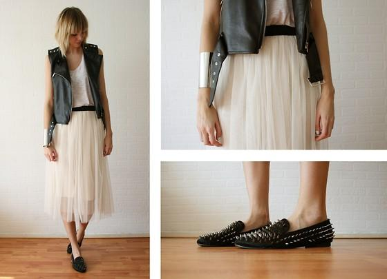 "Minusey Leather Studded Gilet, Monki Top, Asos Silver Arm Cuff, Minusey Skirt, Romwe Spiked Loafers //""I need some more votes, please see info below!"" by Sietske L // LOOKBOOK.nu"