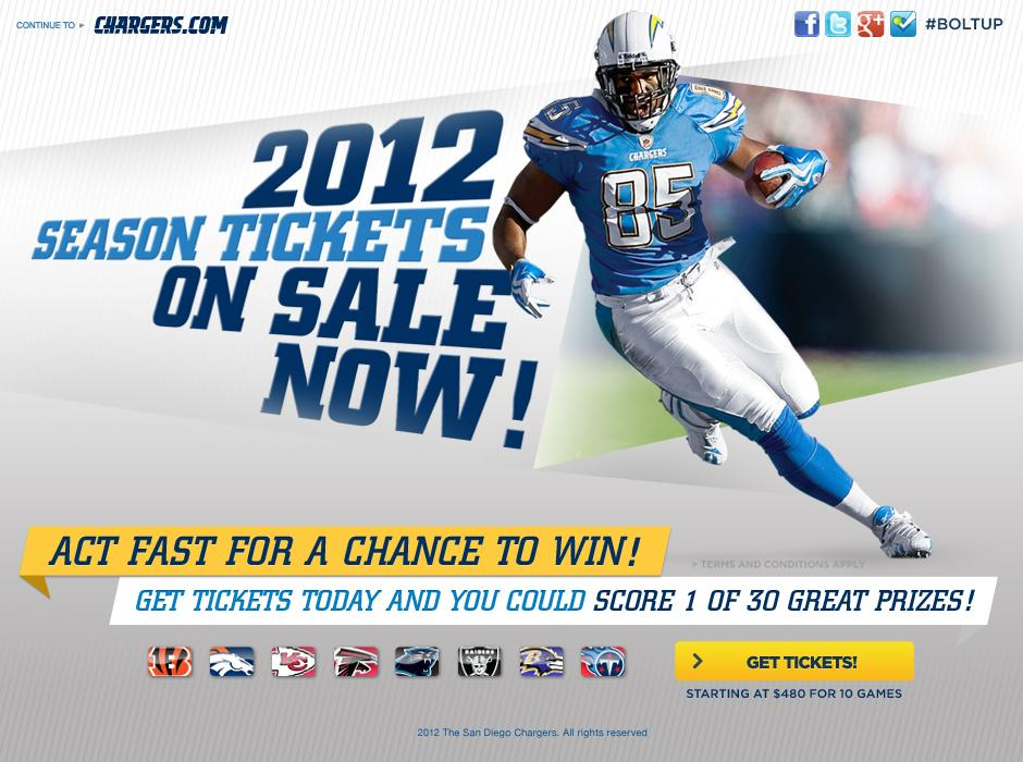 Chargers.com - 2012 Season Tickets on Sale Now!
