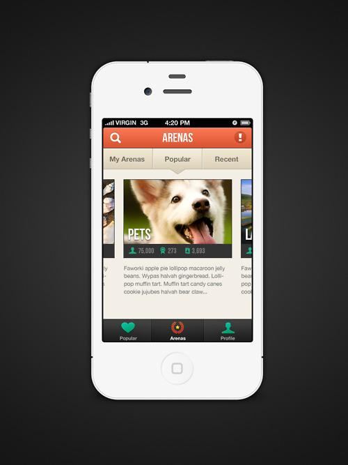 Blaffin Arenas for iPhone - UltraUI | UI Design & Inspiration