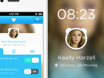 Face Alarm for iPhone by Zaewan Suh (@suzwans) - UltraUI | UI Design & Inspiration