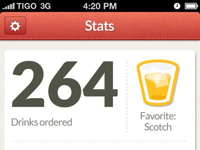 Drinkslist Stats Screen by Andrés Max - UltraUI | UI Design & Inspiration