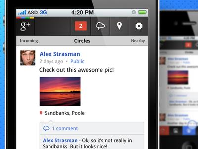 Google+ iPhone App - Stream Screen by Alex... - UltraUI | UI Design & Inspiration