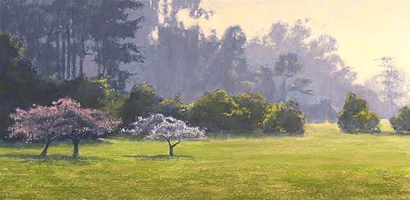 San Francisco Park, Pastel art landscape demo