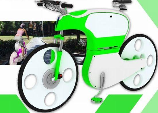 Aesthetically pleasing e-TRIX electric bicycle folds in half