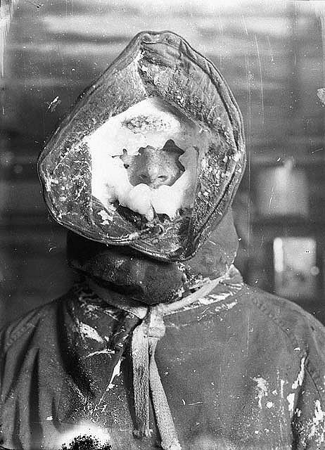 Ice mask, C.T. Madigan, between 1911-1914 / photograph by Frank Hurley | Flickr - Photo Sharing!