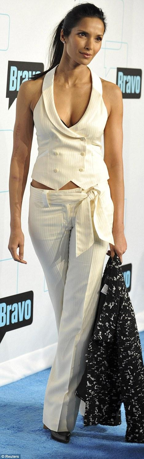 Padma Lakshmi scores a perfect 10 on Bravo's blue carpet | Mail Online
