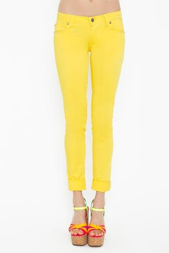 Zip Low Jeans - Yellow in Clothes Bottoms Pants at Nasty Gal