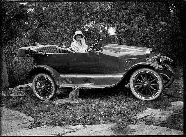 Woman with her new Maxwell car and dog, Shoalhaven, ca. 1920 / photographer Cyrus S. Moss | Flickr - Photo Sharing!