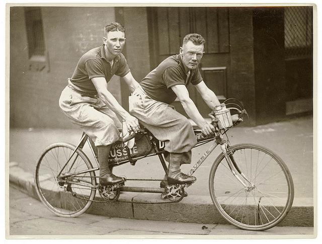 Two men in plus-fours on a tandem, by Sam Hood | Flickr - Photo Sharing!