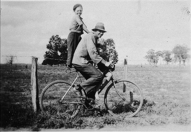Man on bicycle pillioning boy - Bunaloo, NSW, n.d. | Flickr - Photo Sharing!