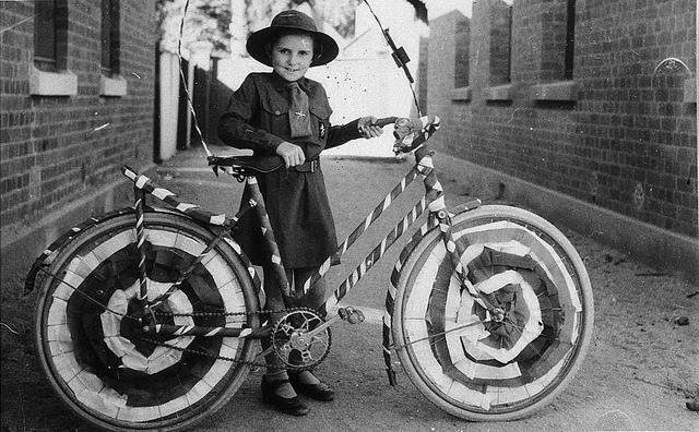 Brownie (Muriel Long) with bicycle decorated for street procession - Deniliquin, NSW, n.d. | Flickr - Photo Sharing!