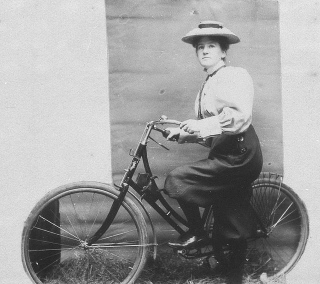 Annie Dawson Wallace with her bicycle. NB: Annie is wearing trousers - Sydney, NSW, 1899   Flickr - Photo Sharing!