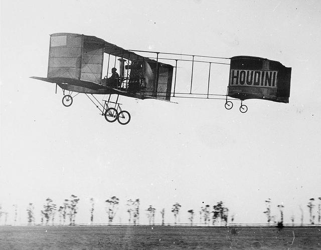 Houdini airborne in his Voisin at Diggers Rest, 1910, by Marcel Poupe | Flickr - Photo Sharing!