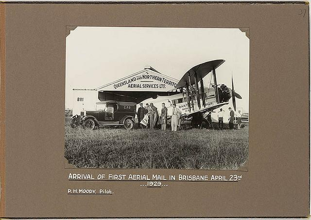 Arrival of first aerial mail in Brisbane on De Havilland DH 61 Giant Moth, April 23rd 1929, P. H. Moody, Pilot | Flickr - Photo Sharing!