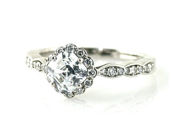 14K Asscher Diamond Engagement Ring Diamond Halo Ring by RareEarth