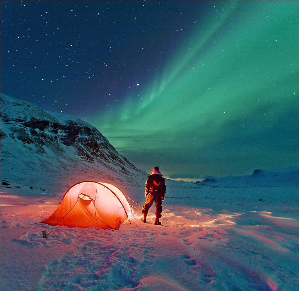 Camping under the Aurora Borealis. - Imgur