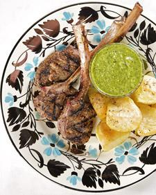 Lamb Lollipops with Green Goddess Mint Dipping Sauce and Roasted Potatoes - Martha Stewart Recipes